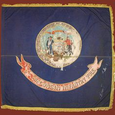 "Regimental Colors of the 6th Wisconsin Volunteer Infantry .  This flag was made by Gilbert Hubbard and Company, Chicago and was received by the regiment June 25, 1863.  The 6th Wisconsin was a part of the famed ""Iron Brigade""."