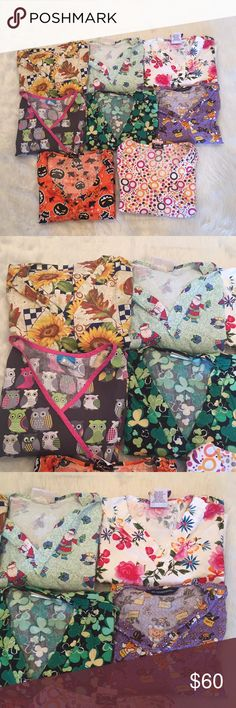**MUST GO**LOT of scrubs 8 scrub tops all with plenty of life still in them. The circle patterned one is marked as a Small but it runs big. Tops Tees - Short Sleeve
