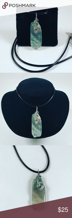 Women boho green quartz leather necklace stone Women necklace. Comes with a adjustable 16 to 20 inch black italian leather . Handmade by me , never worn by anyone. Made with steel wire wrap and light green quartz . I ship fast!!✈️Bundle and save !! ( 10 % off bundles) . Any questions let me know ! No Transactions outside poshmark ! Jewelry Necklaces