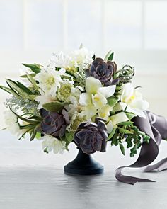 White and Slate Centerpiece