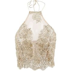 Simplee Apparel Women's Halter Neck Tank Crop Top Sleeveless Lace Vest... (£15) ❤ liked on Polyvore featuring tops, lace camisole, lace crop top, cami crop top, crop top and halter-neck crop tops