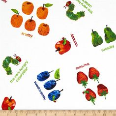 The Very Hungry Caterpillar Dots Small Scattered Fruit White from @fabricdotcom  Designed by Eric Carle under license for Andover Fabrics, this fabric is perfect for quilting, apparel and home décor accents.  Colors include red, orange, blue, green and yellow on a white background.