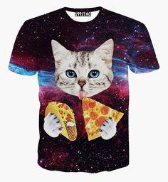 Zomer ruimte kat pizza printen 3d t-shirt mannen t-shi