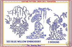 Paper Embroidery Patterns 503 NEW Blue Willow Iron-on Embroidery Transfers of Geisha Girls pattern Iron On Embroidery, Paper Embroidery, Learn Embroidery, Japanese Embroidery, Cross Stitch Embroidery, Embroidery Scissors, Cross Stitching, Embroidery Stitches Tutorial, Embroidery Transfers