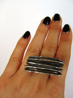 Hammered+Statment+Ring+by+RustandRam+on+Etsy,+$140.00