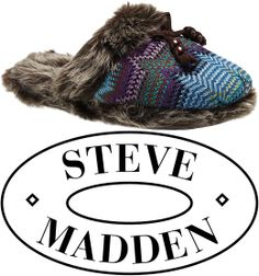 """Steve Madden's """"Zig Zag Knit Scuff"""" Slippers in Purple-Multi, retails at $28. Rock'n slippers with an Aztec-inspired design and faux fur trim, these scuff slippers from Steve Madden will keep feet toasty and on-trend."""