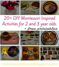 Montessori Nature: 20+ DIY Montessori Inspired Activities for 2 and 3 year olds.