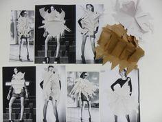 Fashion Sketchbook - fashion design research & development with paper manipulation experiments; fashion portfolio