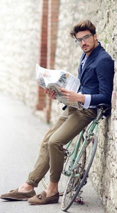 "The casual ""Oh hey, just reading the paper"" look."