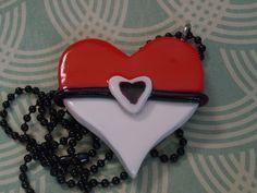 Pokemon Heart Necklace, Heart Shaped Pokeball Necklace, Pokemon Jewelry, Anime Jewelry, Gamer Jewelry by laminartz on Etsy
