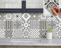 Cocina baño escalera elevadores azulejo etiquetas de la etiqueta engomada del vinilo: Portugal Patchwork Pmix5 EarthGrey