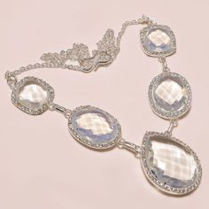 """FACETED WHITE TOPAZ WITH WHITE CZ .925 SILVER NECKLACE 18""""  #Handmade #Pendant"""