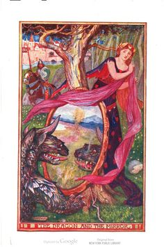 """The dragon and the mirror."" H.J. Ford for The Brown Fairy Book, by Andrew Lang. #illustration #fairytales"