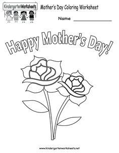Kindergarten Mother's Day Coloring Worksheet Printable http://www.theeducationmonitor.com/category/worksheets/kindergarten/