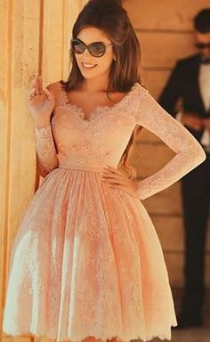 Long sleeve lace homecoming dress, peach homecoming dress, short homecoming dresses, 2016 homecoming dress, short prom dresses, CM917