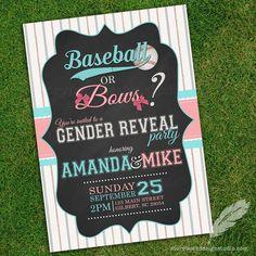 Baseball or Bows Gender Reveal Invitations