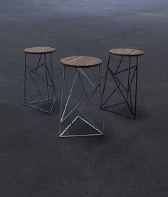 Modern Steel Stool with Walnut Seat
