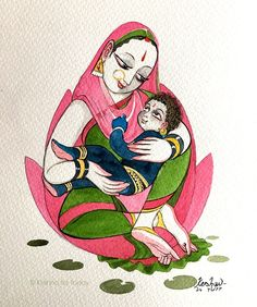 Yashoda's blessing. #watercolour #krishnafortoday #bhagavatha #krishnaleela