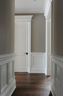 The molding and millwork is amazing. The wall color is stunning. The molding and millwork is amazing. The wall color is stunning. Style At Home, Home Renovation, Home Remodeling, Bathroom Remodeling, Faux Wainscoting, Wainscoting Ideas, Wainscoting Bathroom, Wainscoting Height, Dining Room Wainscoting