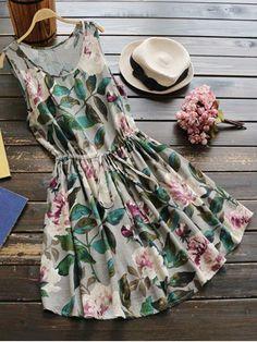 Sleeveless Drawstring Waist Floral Linen Dress - GREEN ONE SIZE