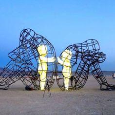 Ukrainian Sculptor Blacksmith And Designer Alexander Milov Has - Thought provoking burning man sculpture shows inner children trapped inside adult bodies