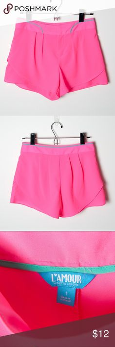 L'amour by Nanette Lepore Bright Pink Sz 1 Shorts Great bright shorts for summer! Pink, size 1 shorts from L'amour by Nanette Lepore. 100% polyester, machine wash cold, gentle cycle. Tumble dry low, iron on lowest setting. Nanette Lepore Shorts Skorts