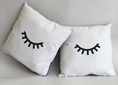 Eyes closed cushions. Teen girl cushions