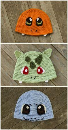 crochet hat pattern First Generation Starter Pokemon Inspired Crochet Pattern Pack Charmander Bulbasuar Squirtle Pokemon Crochet Pokemon Hat Pokemon Starter by DreamBoatEffects on Etsy Bonnet Crochet, Crochet Beanie, Crochet Yarn, Knitted Hats, Pokemon Hat, Crochet Pokemon, Pokemon Charmander, Love Crochet, Crochet For Kids