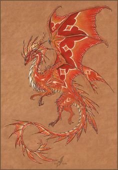 Tropical fire dragon. #fantasy #dragon #art #pencil #drawing #alviaalcedo #red #fire on @DeviantArt