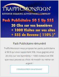 Chaque Pack Publicitaire rapporte 1$ par jour !!! N'hésitez plus. Rejoignez moi...