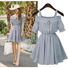 ZJ-PNARL Plus Size Women Dresses Casual Summer Dress Solid Slash Neck Off The Shoulder Plaid Dress