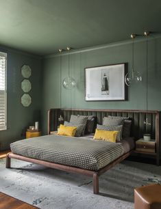 51 Green Bedrooms With Tips And Accessories To Help You Design Yours 3 Main Benefits of Having a Modern Bedroom # Desig interesting bedroom design with wood in the interior design A house with a view – Master Bedroom Design & Guest Bedroom Design – … Green Bedroom Design, Bedroom Green, Green Rooms, Master Bedroom Design, Bedroom Colors, Modern Bedroom, Bedroom Ideas, Contemporary Bedroom, Calm Bedroom