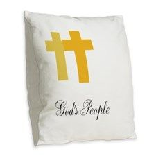 Crosses With Gods Message Burlap Throw Pillow