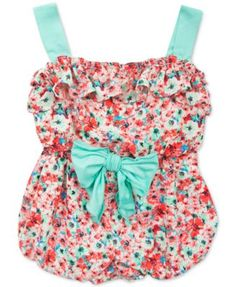Rare Editions Baby Girls' Coral Floral-Print Romper  | macys.com