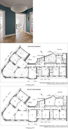Haussmann Architecture, Parisian Architecture, Architecture Plan, Apartment Floor Plans, House Floor Plans, Parisian Apartment, Paris Apartments, Circle House, Paris Flat