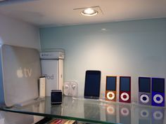iPod and Apple TV display corner Apple Home, Apple Tv, Tv Display, Ipod, Bathroom Lighting, Remote, Corner, Mirror, Home Decor