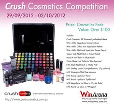 CrushCosmetics partnered with WinArena to GiveAway a Prize Pack that would make a Geisha blush. In this Facebook Competition we gave away a pack including: EyeShadow, EyeLiner, NailPolish, LipGloss and so much more. Did you miss it? Follow WinArena on Facebook to catch your chance to WIN our next prize giveaway