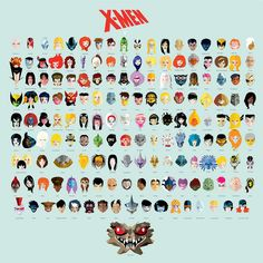 Stylized Illustration Featuring the Faces of X-Men Superheroes  Villains