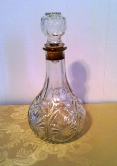 Vintage Cut Glass Wine Decanter by cappelloscreations on Etsy, $22.00@Etsy use XOMOM10 at checkout for 10%off. In honor of my Mom who just passed away!