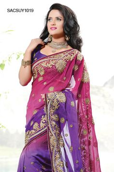 $140 Dual Shaded Georgette Embroidered Saree From Cbazaar
