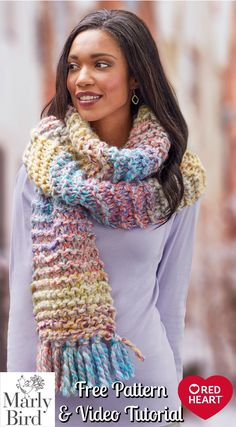 Up The Volume Scarf Even absolute beginners can knit this beautiful project from start to finish! Free pattern from Red Heart Yarns and video tutorials by Marly Bird. Great idea for quick DIY holiday gifts!