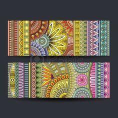 Tarjetas de patrón étnico abstracta establecen