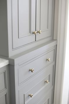 Replace linen cabinet doors and hardware Linen Closet, Built Ins, Linen Cabinet, Cabinetry, Cabinet Door Styles, Grey Cabinets, Cabinet Detailing, Bathrooms Remodel, Bathroom Inspiration