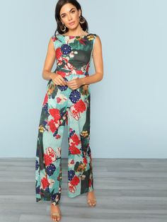877fb0f5955 Wide Leg Back Cutout Floral Jumpsuit -SheIn(Sheinside) Floral Jumpsuit