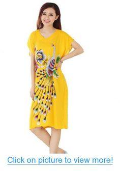 JTC Women's Cotton Robe Sleepwear Peacock Nightdress Pajamas Yellow