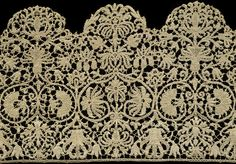 Italian lace borders (1620-1640)  (Linen cutwork, embroidery stitches & bobbin lace)   V Museum