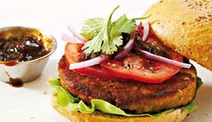 Bobotie-flavoured lentil burger A quick, delicious meal for the whole family. Lentils are loaded with cholesterol lowering soluble fibre and count as a vegetable serving. Burger Mania, Lentil Burgers, Sweet Potato Wedges, Cholesterol Lowering Foods, Recipe Search, Salmon Burgers, Lentils, Vegetarian, Yummy Food