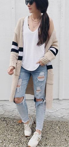 casual outfit ripped jeans   tee   cardigan   sneakers
