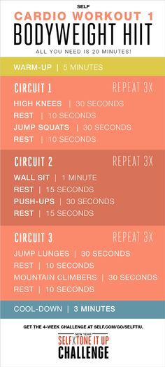 Cardio Workout Bodyweight HIIT All you need is 20 minutes. Cardio Workout Bodyweight HIIT All you need is 20 minutes. Fitness Workouts, Fitness Motivation, Fitness Tips, Health Fitness, Women's Health, Health Tips, Health Care, Kardio Workout, Sport Cardio