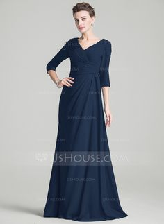 A-Line/Princess V-neck Sweep Train Ruffle Beading Zipper Up Sleeves 3/4 Sleeves No 2016 Dark Navy Spring Fall Winter General Plus Chiffon Mother of the Bride Dress